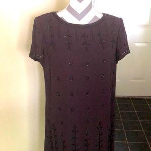Liz Claiborne Dress SZ 12 Embellished Beaded Brown